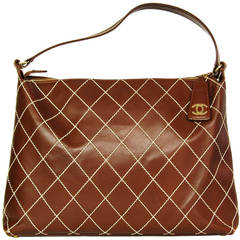 Chanel Vintage Brown Leather Tote Bag With Contrast Stitching