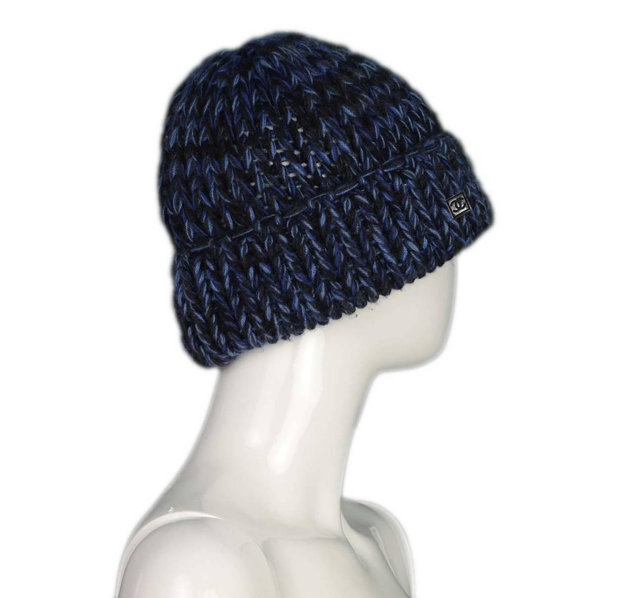 CHANEL Blue/Black Chunky Cashmere Knit Beanie Hat at 1stdibs