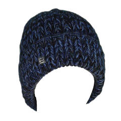CHANEL Blue/Black Chunky Cashmere Knit Beanie Hat