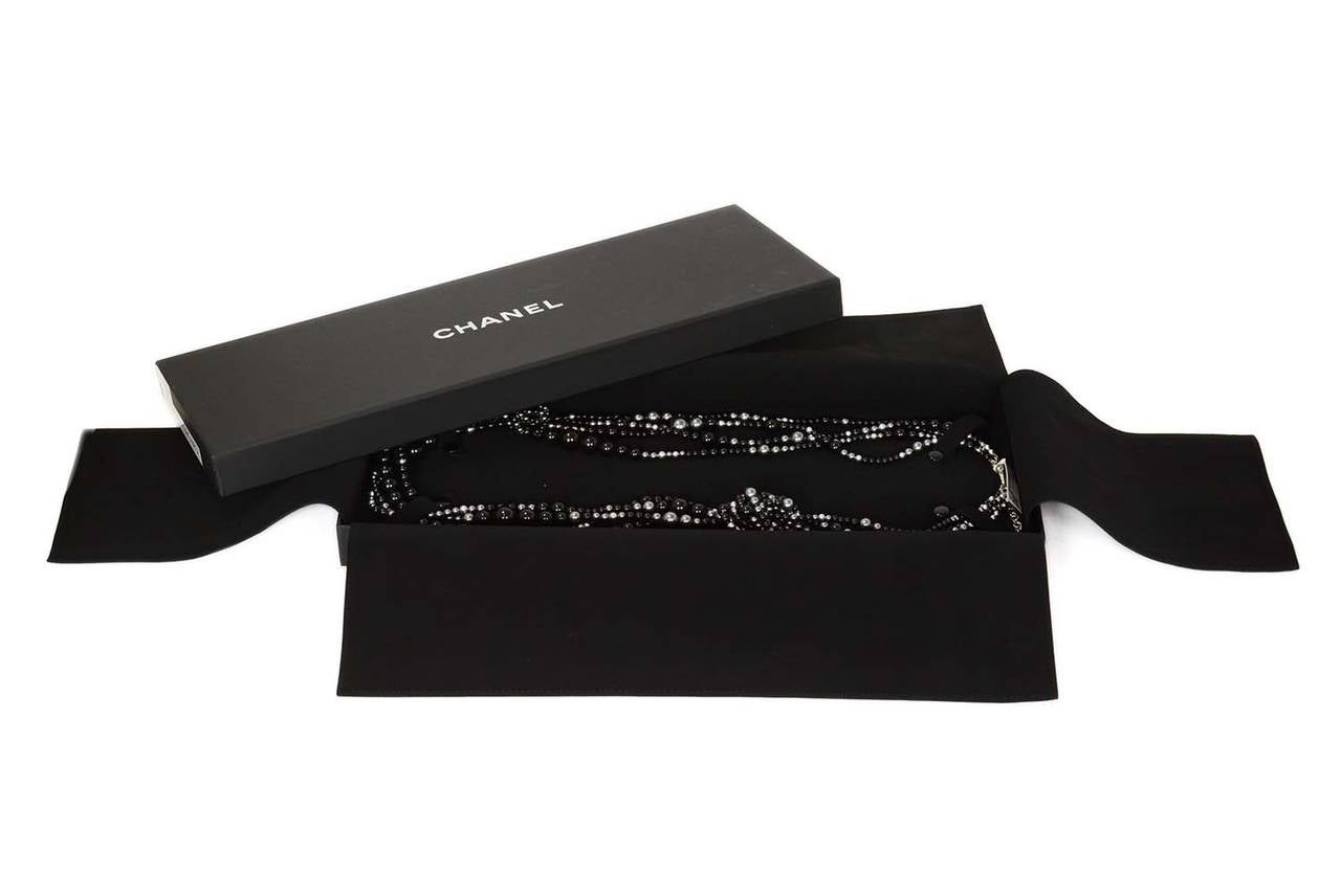 CHANEL 2014 Black & Grey Multi-Strand faux Pearl CC Necklace rt. $3,000 For Sale 3