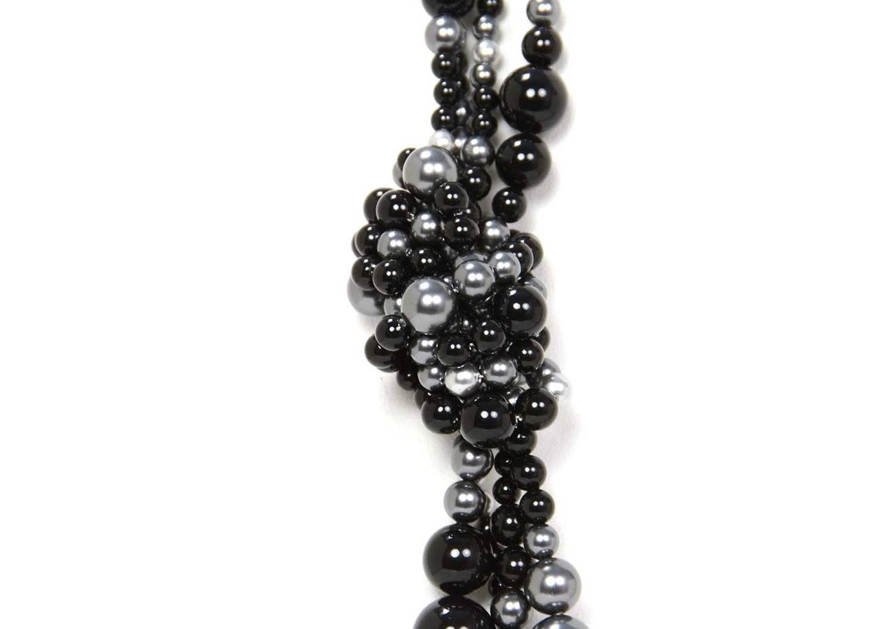 CHANEL 2014 Black & Grey Multi-Strand faux Pearl CC Necklace rt. $3,000 In As New Condition For Sale In New York, NY