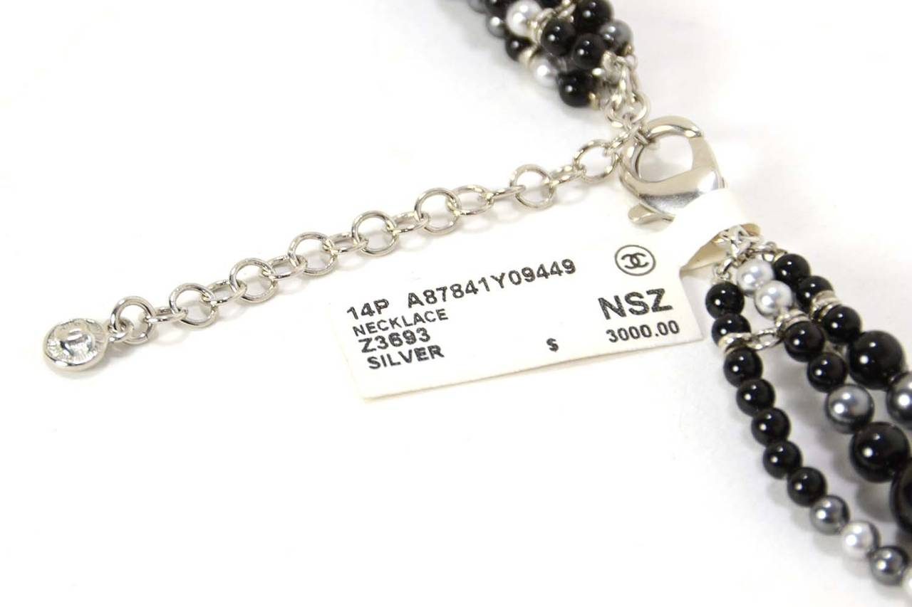 CHANEL 2014 Black & Grey Multi-Strand faux Pearl CC Necklace rt. $3,000 For Sale 1