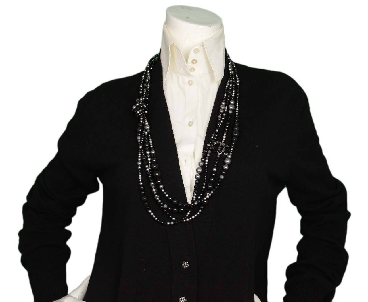 CHANEL 2014 Black & Grey Multi-Strand faux Pearl CC Necklace rt. $3,000 8