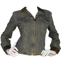CHANEL Distressed Denim Jacket With Leather Trim