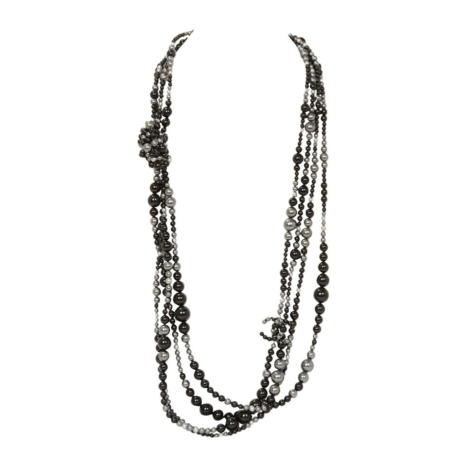 CHANEL 2014 Black & Grey Multi-Strand faux Pearl CC Necklace rt. $3,000 For Sale
