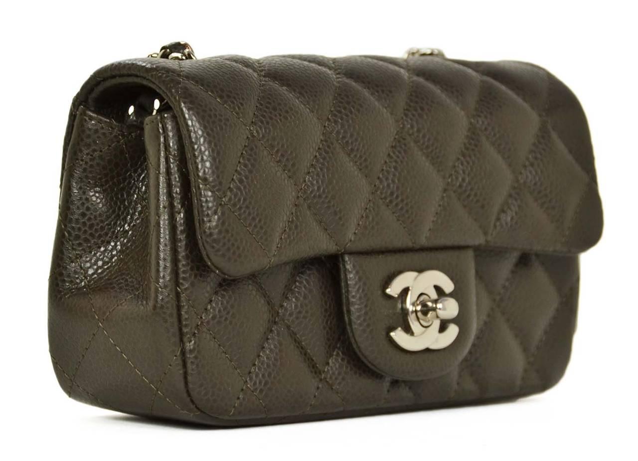 2c5cda681447 CHANEL Dark Brown/Olive Caviar Leather Extra Mini Classic Cross Body ...