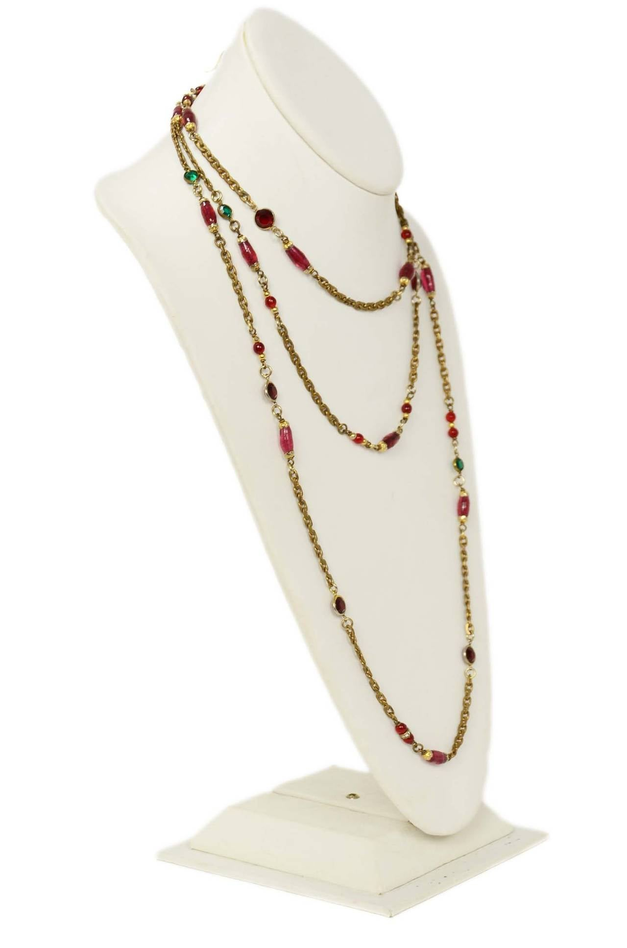 "Chanel 1984 Red and Green Crystal with Pink Gripoix 64"" Chain Necklace 2"