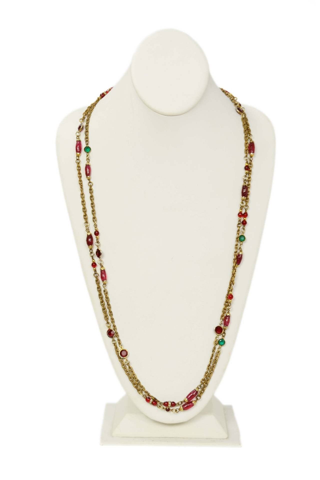 "Chanel 1984 Red and Green Crystal with Pink Gripoix 64"" Chain Necklace 3"