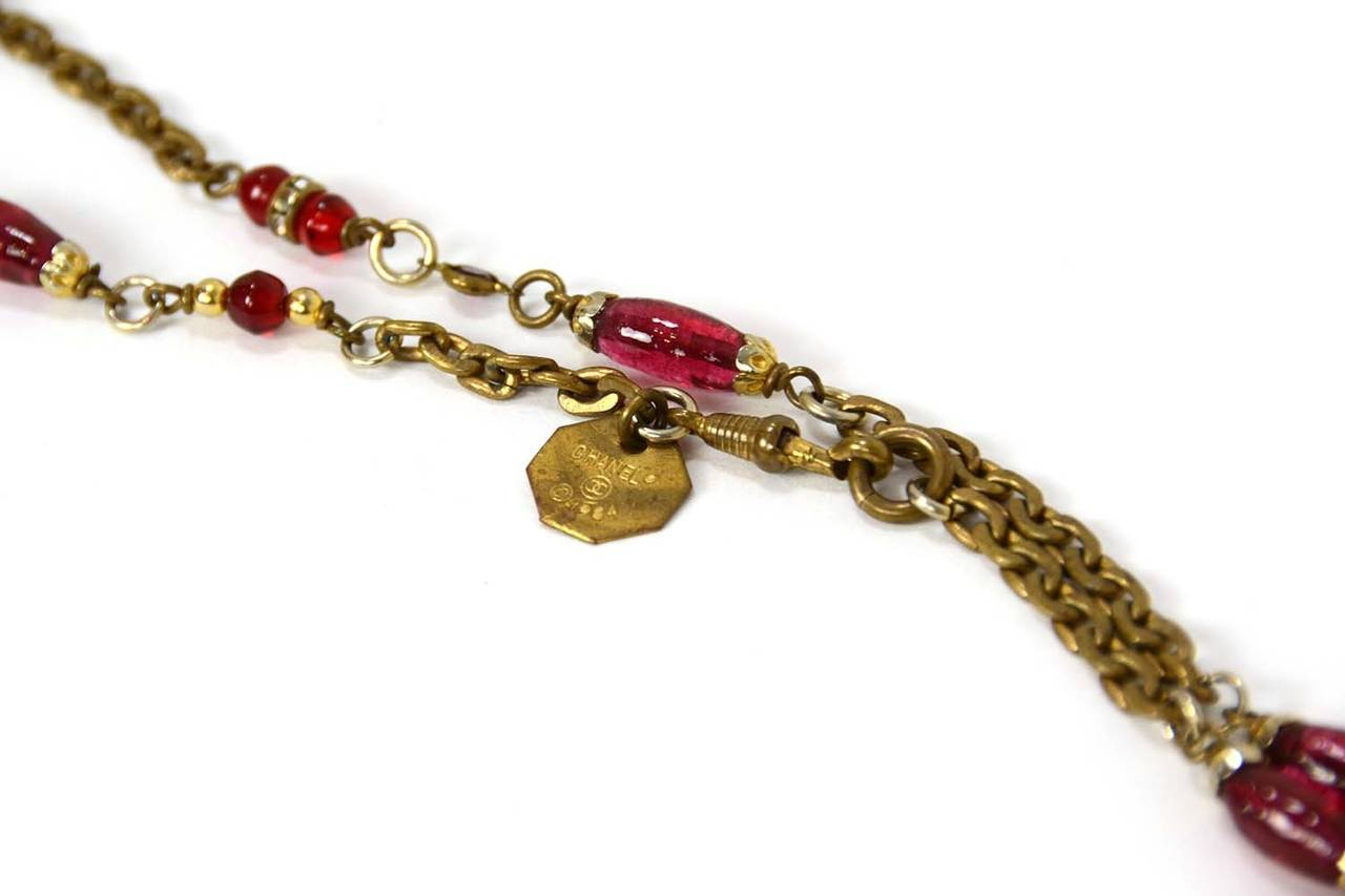 "Chanel 1984 Red and Green Crystal with Pink Gripoix 64"" Chain Necklace 4"