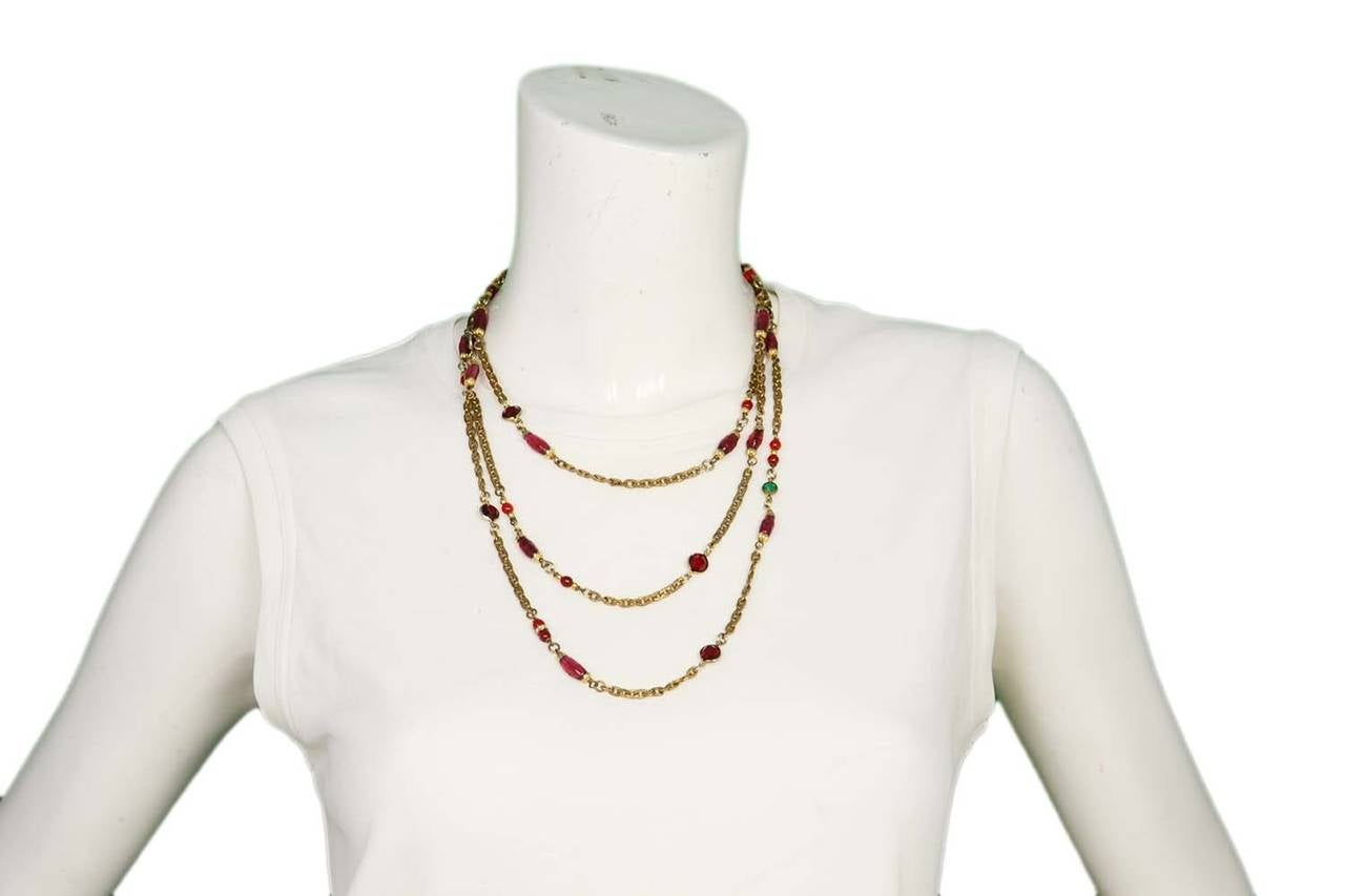 "Chanel 1984 Red and Green Crystal with Pink Gripoix 64"" Chain Necklace 5"