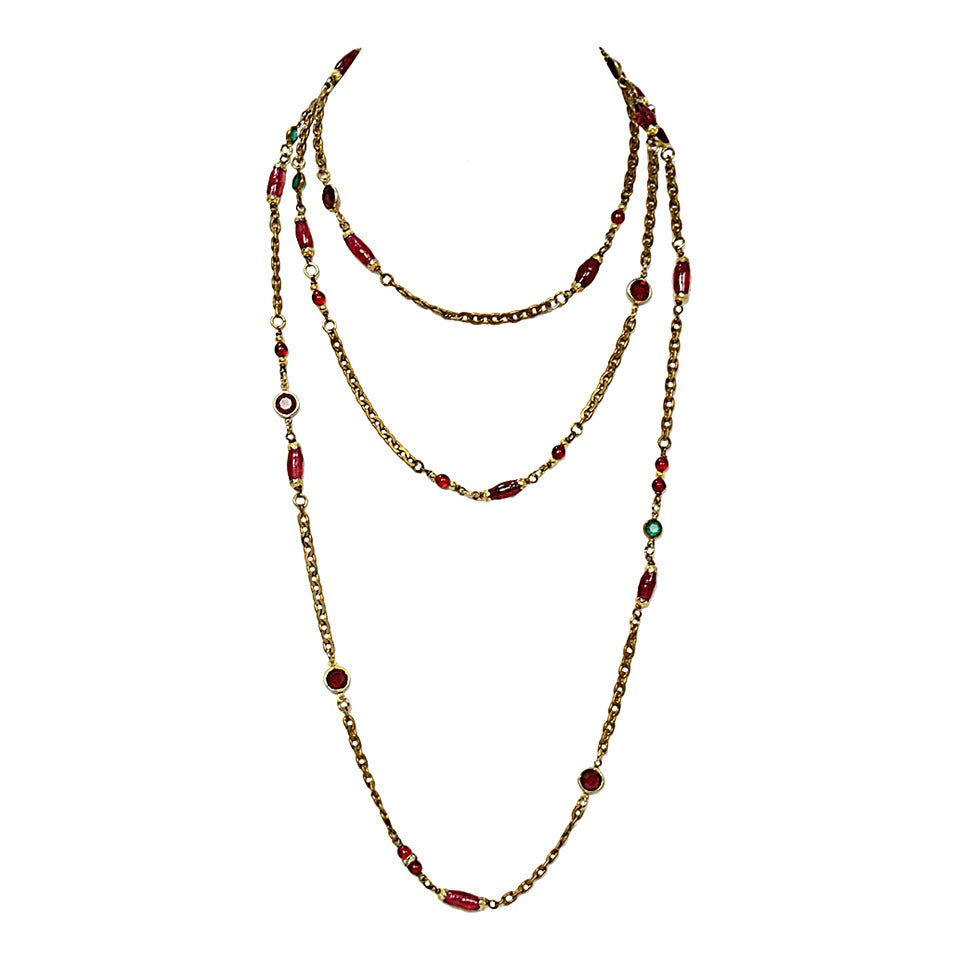 "Chanel Vintage '84 Crystal & Gripoix 64"" Long Necklace Features red and green crystal beads and pink gripoix beads  Made in: France Color: Red, green, dark pink Materials: Strass crystals, Gripoix poured glass, metal Hardware: brass tone"