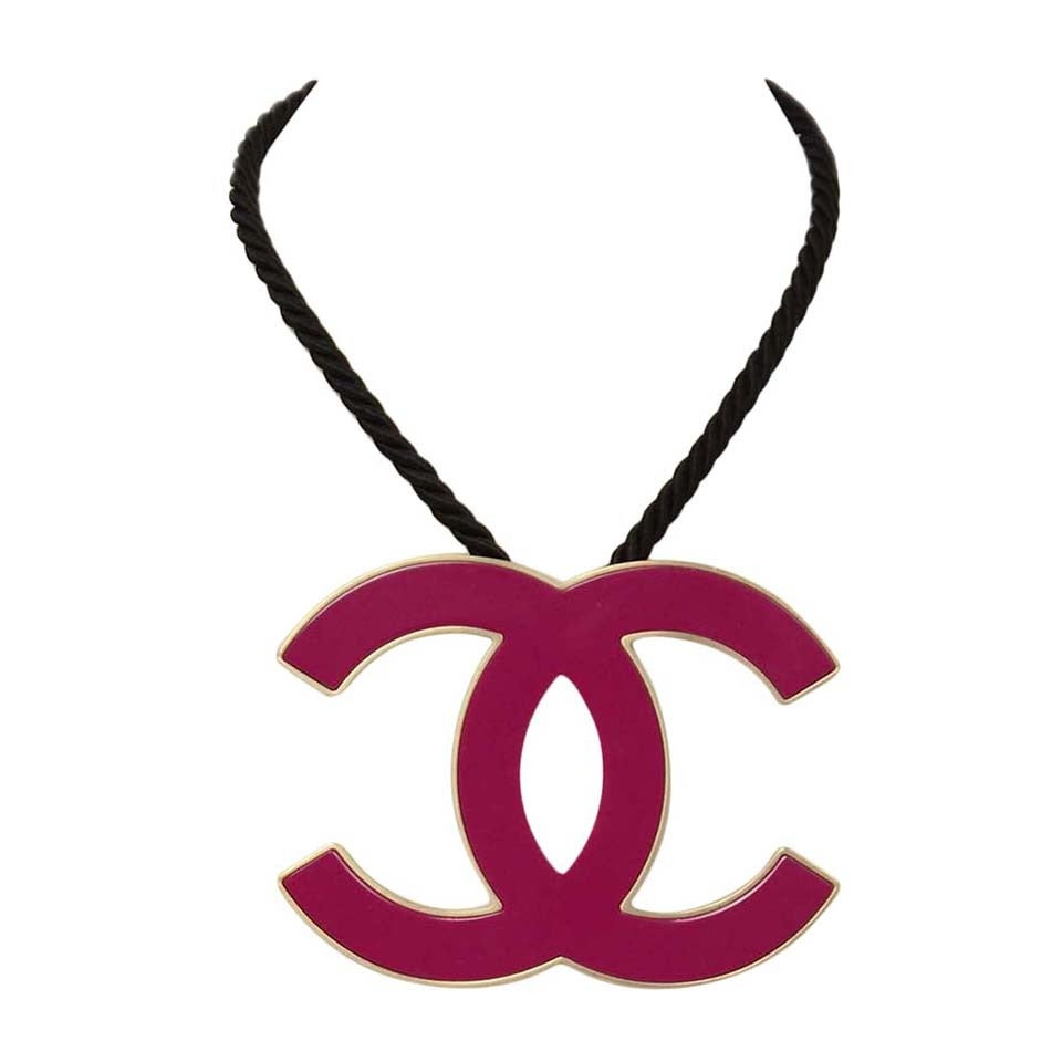CHANEL 2008 Fuschia Pink Resin XL CC Necklace 1