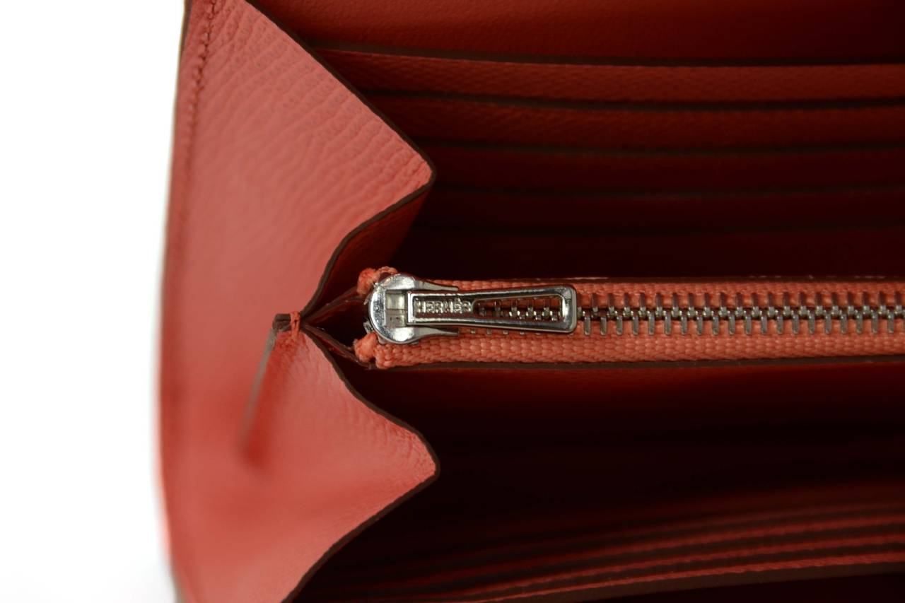 HERMES 2013 Flamingo Peach Epsom Long H Constance Wallet/Clutch PHW 7