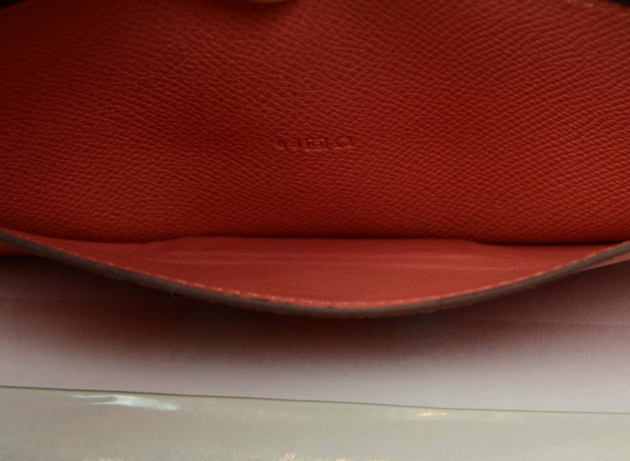 HERMES 2013 Flamingo Peach Epsom Long H Constance Wallet/Clutch PHW 4