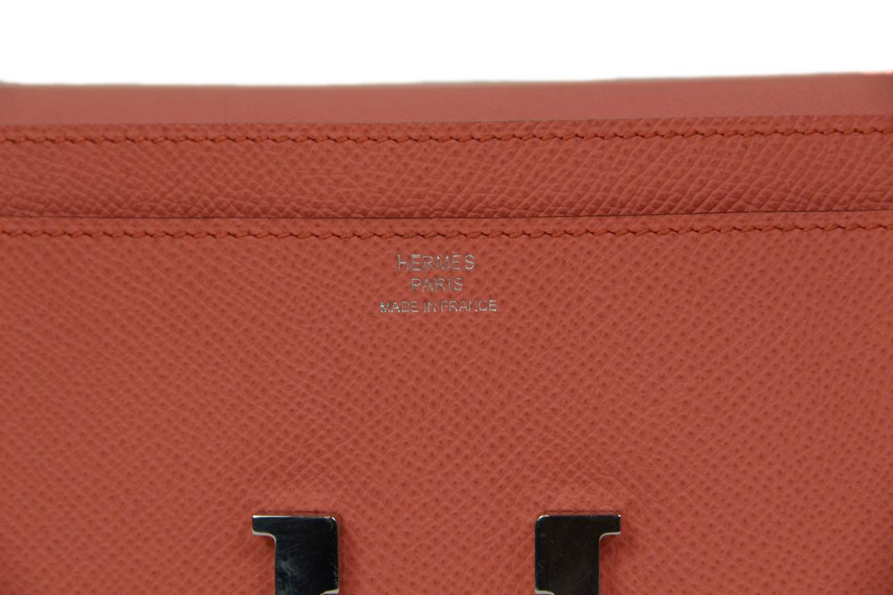 HERMES 2013 Flamingo Peach Epsom Long H Constance Wallet/Clutch PHW 3