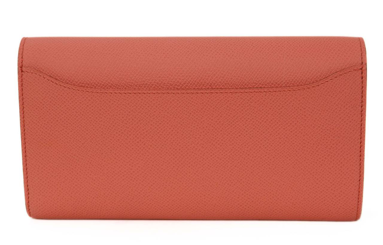 HERMES 2013 Flamingo Peach Epsom Long H Constance Wallet/Clutch PHW 2