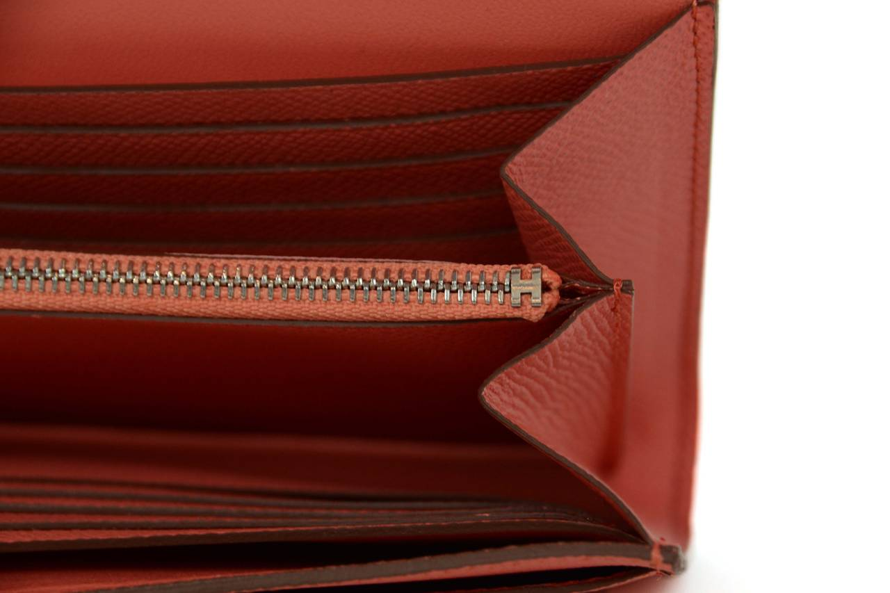 HERMES 2013 Flamingo Peach Epsom Long H Constance Wallet/Clutch PHW 8
