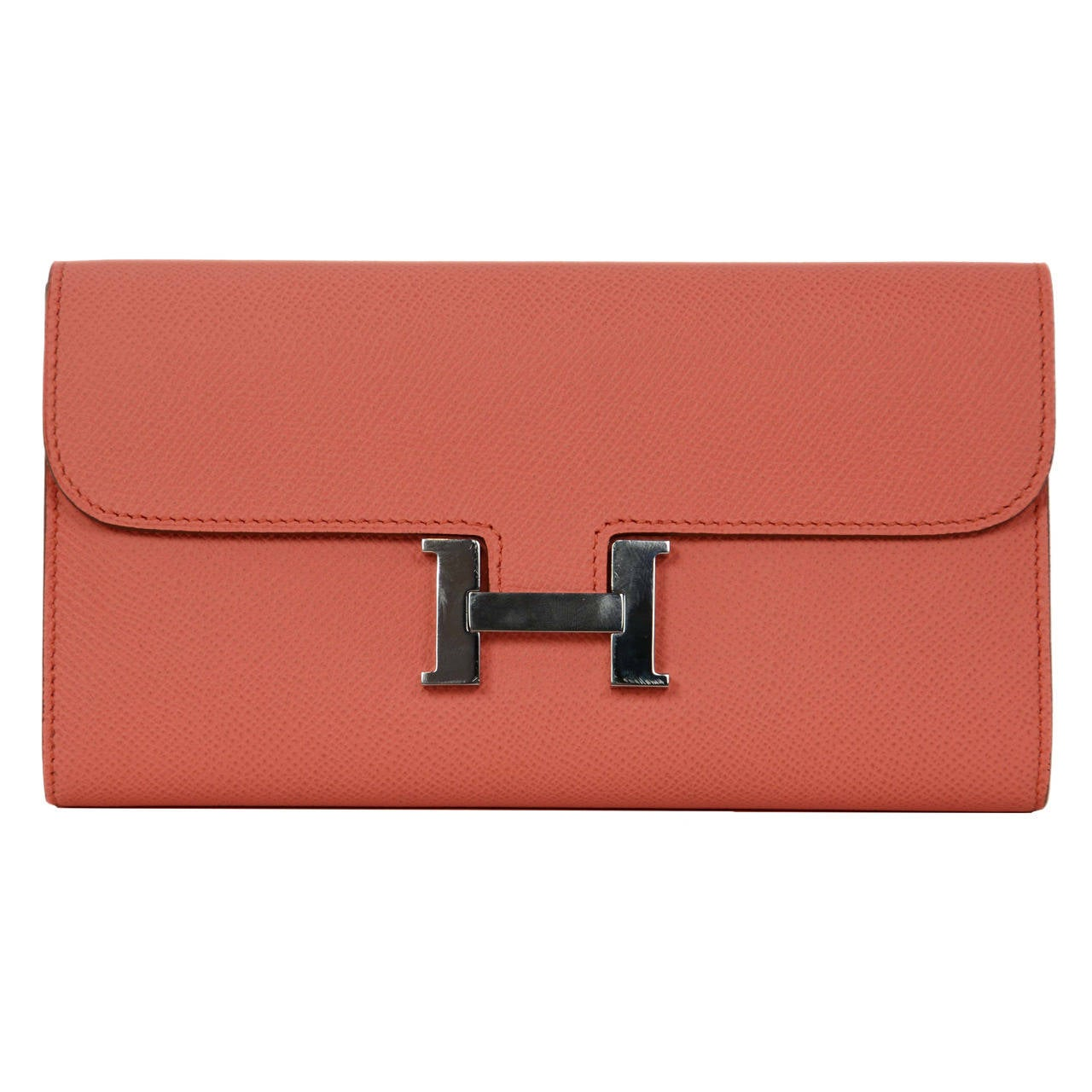 HERMES 2013 Flamingo Peach Epsom Long H Constance Wallet/Clutch PHW 1