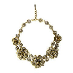 Chanel Vintage '70s Strass Crystal Camelia Necklace