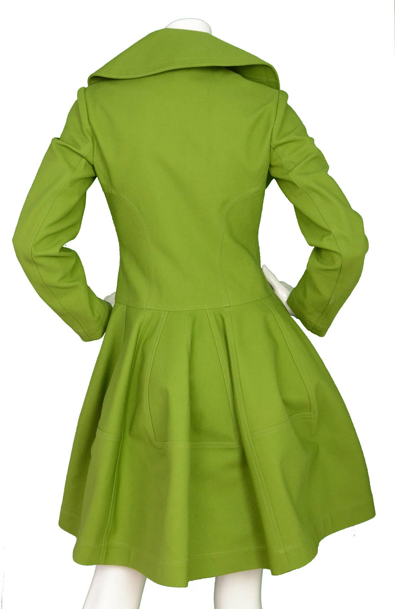 ALAIA Green Cotton Flare Double Breasted  Coat Sz 40 3