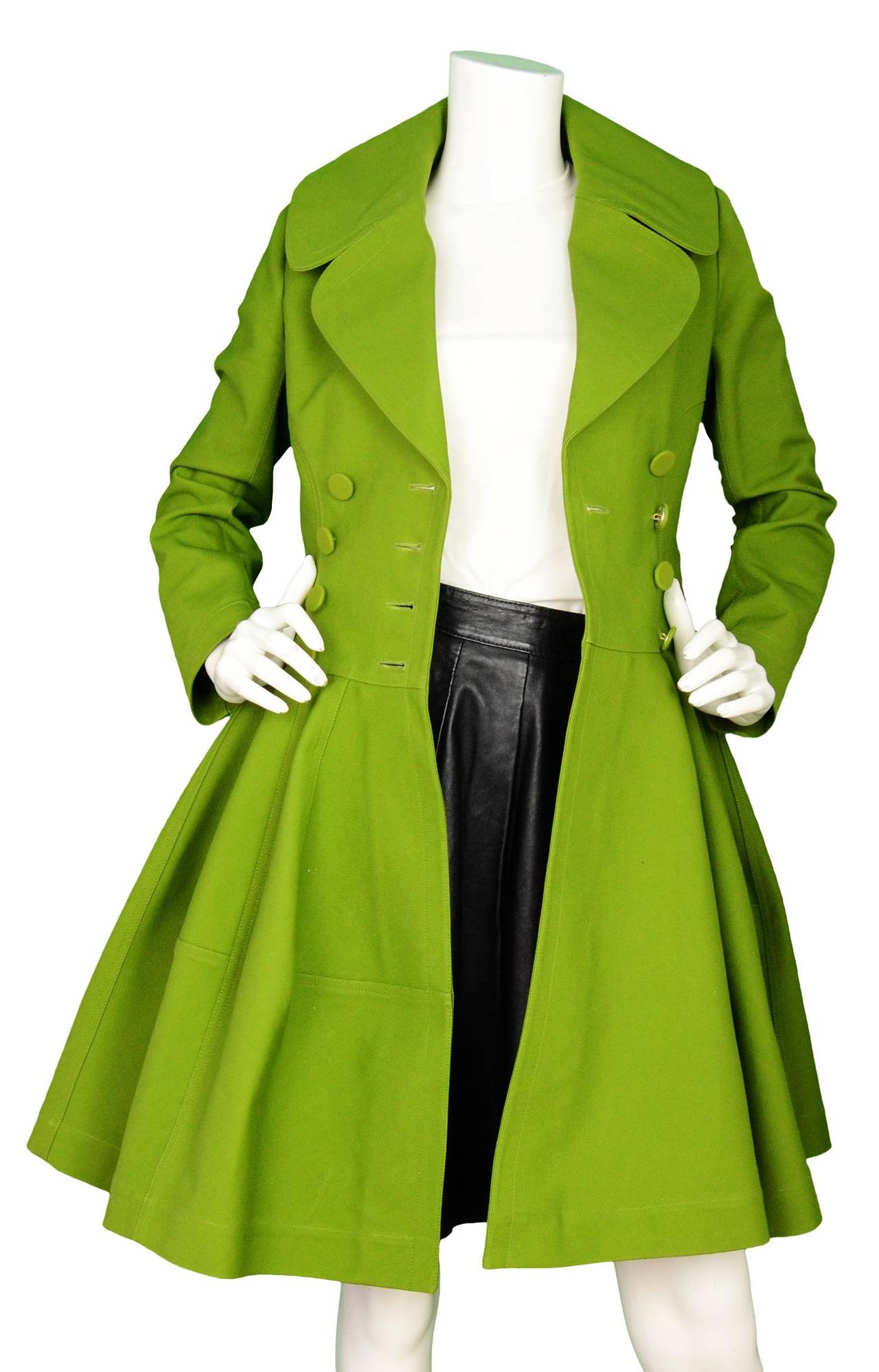 ALAIA Green Cotton Flare Double Breasted  Coat Sz 40 4