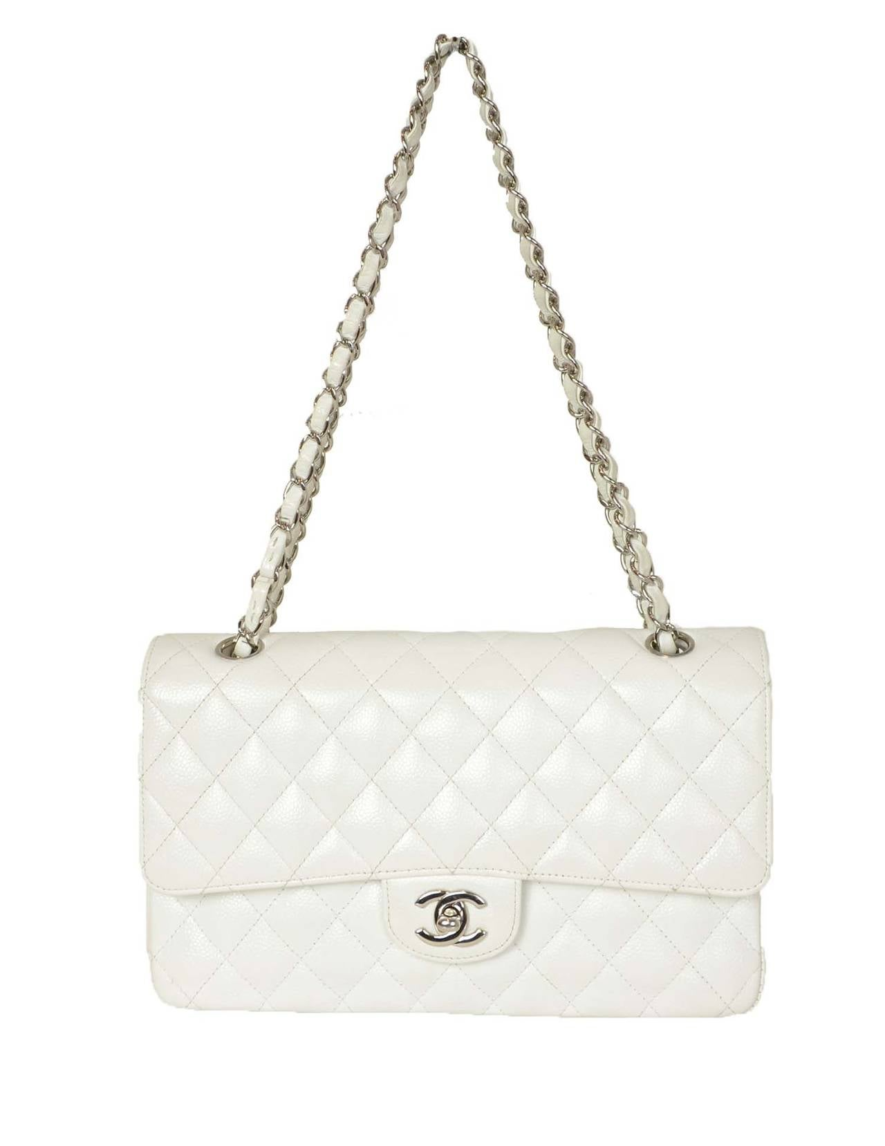 "CHANEL White Quilted Caviar Double Flap 10"" Classic Bag 2"