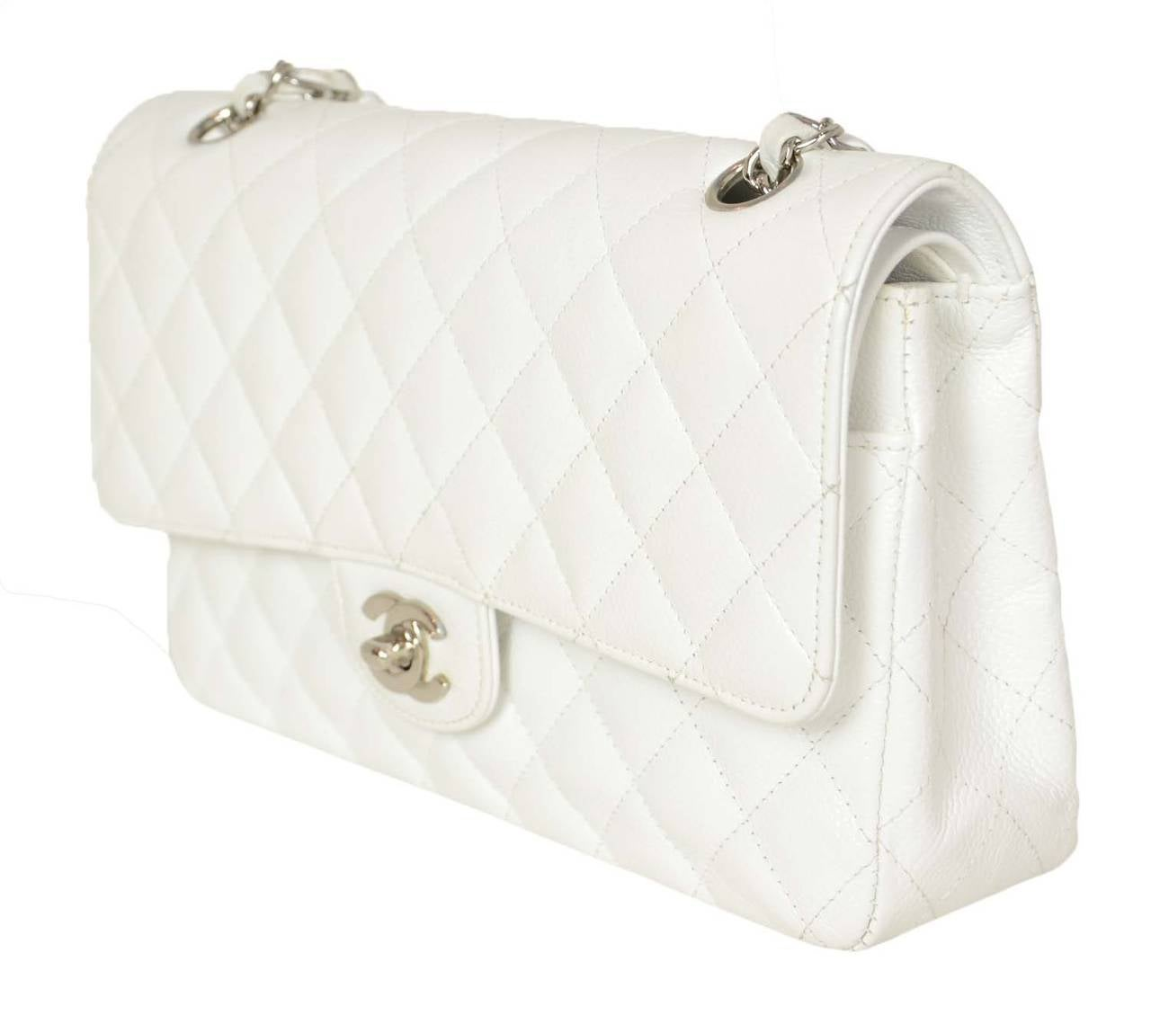 "CHANEL White Quilted Caviar Double Flap 10"" Classic Bag 3"