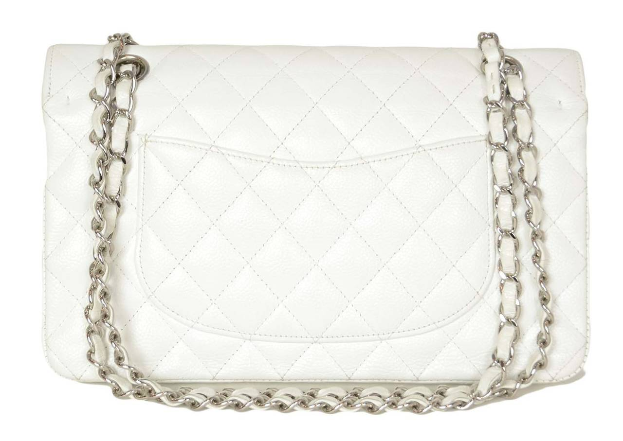 "CHANEL White Quilted Caviar Double Flap 10"" Classic Bag 4"