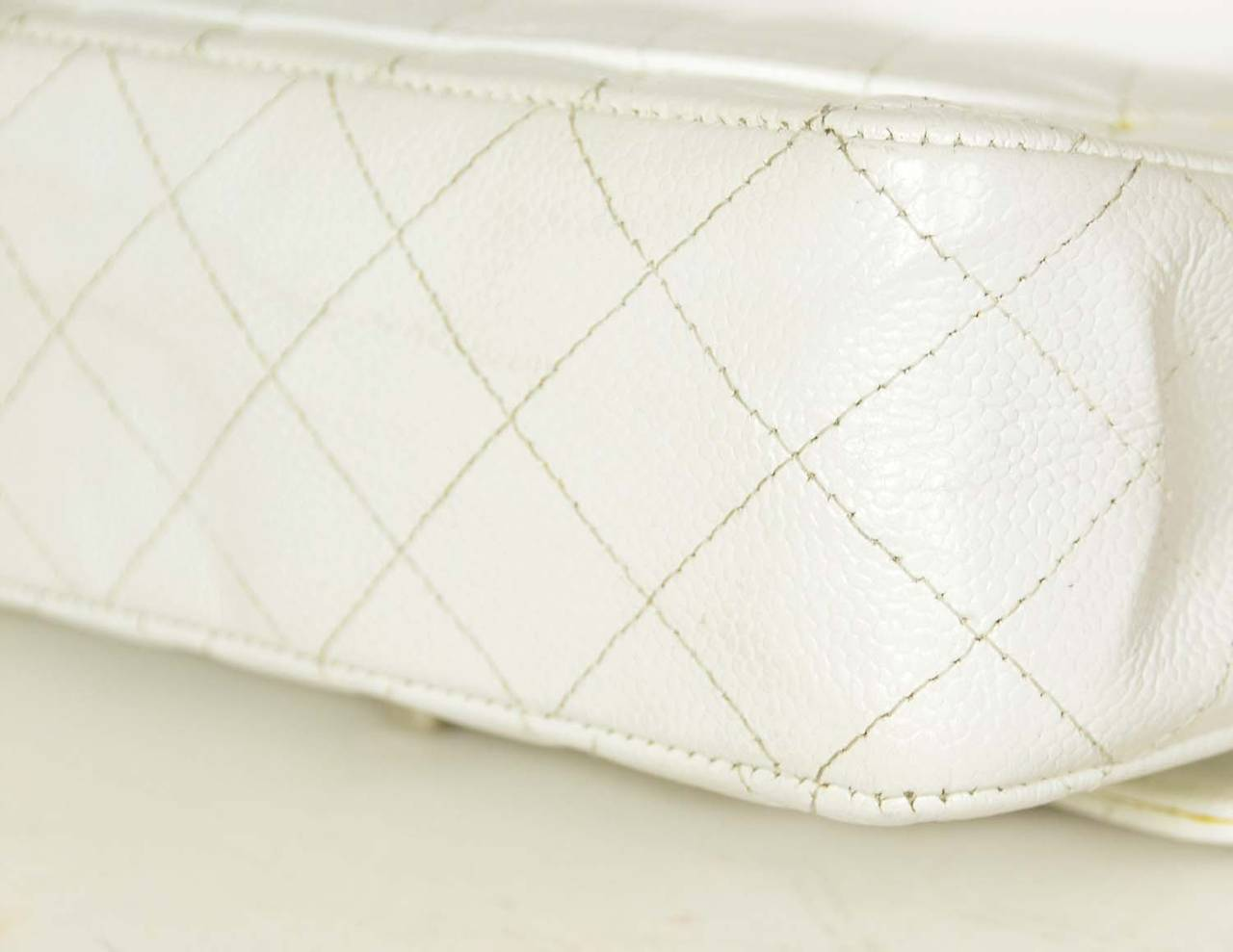 "CHANEL White Quilted Caviar Double Flap 10"" Classic Bag 5"