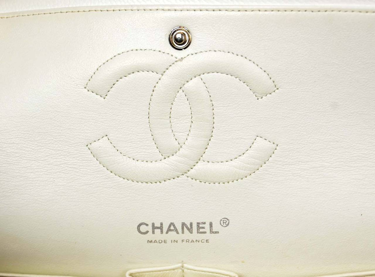 "CHANEL White Quilted Caviar Double Flap 10"" Classic Bag 8"