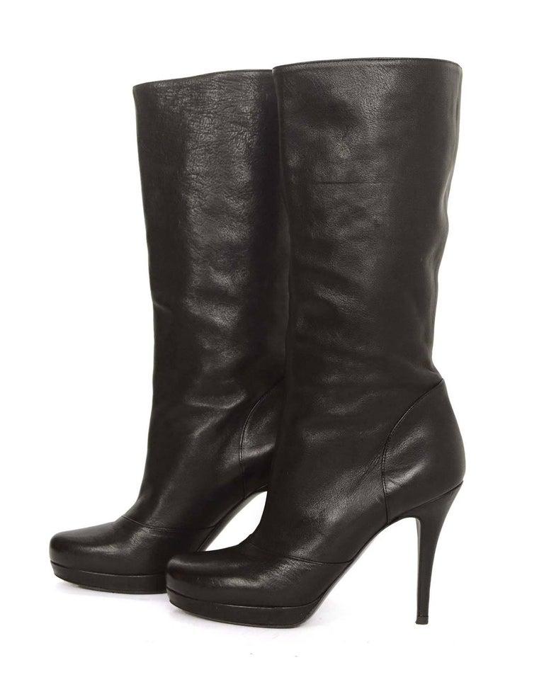 8c9cdfc6 Yves Saint Laurent YSL Black Leather Boots sz 37