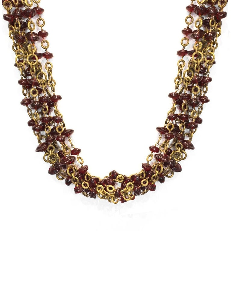 Chanel Vintage '84 Multi-Strand Red Gripoix Necklace 2
