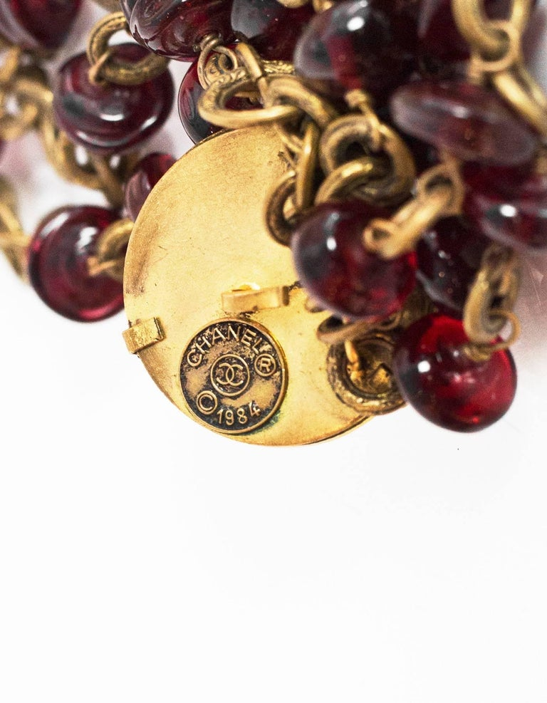 Chanel Vintage '84 Multi-Strand Red Gripoix Necklace 5