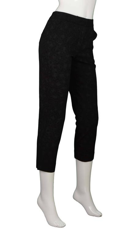Roberto Cavalli Black Leopard Print Cropped Pants  Fabric features a faint shimmer throughout Made In: Italy Color: Black leopard print Composition: 59% viscose, 39% wool, 2% spandex Lining: None Closure/Opening: Front zipper with hook and eye
