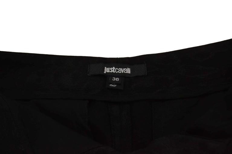 Women's Roberto Cavalli Black Leopard Print Cropped Pants sz 36 For Sale