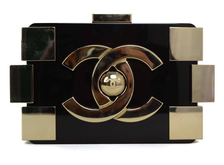 1aa5f54425a0 Chanel Black & Gold Collectors Lego Boy Bag GHW In Excellent Condition For  Sale In New