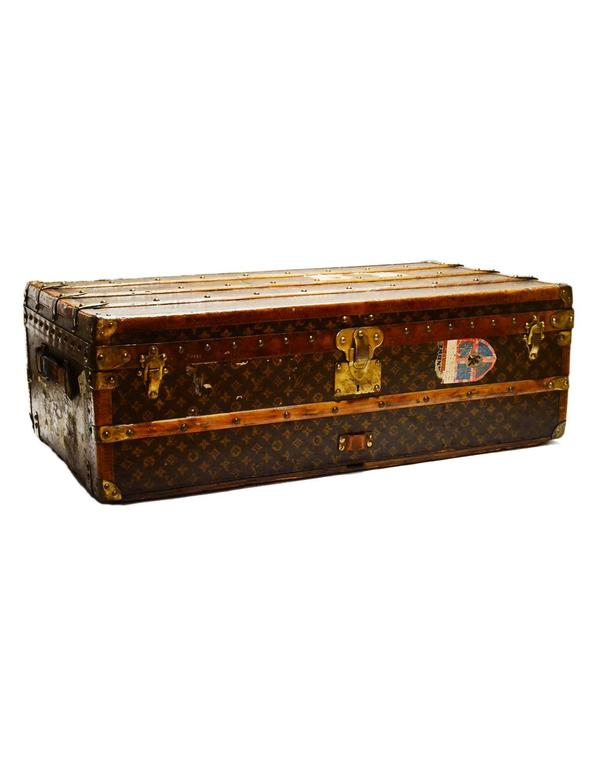 Louis Vuitton 1920's Vintage Monogram Rolling Trunk/Coffee Table w. Insert  For Sale