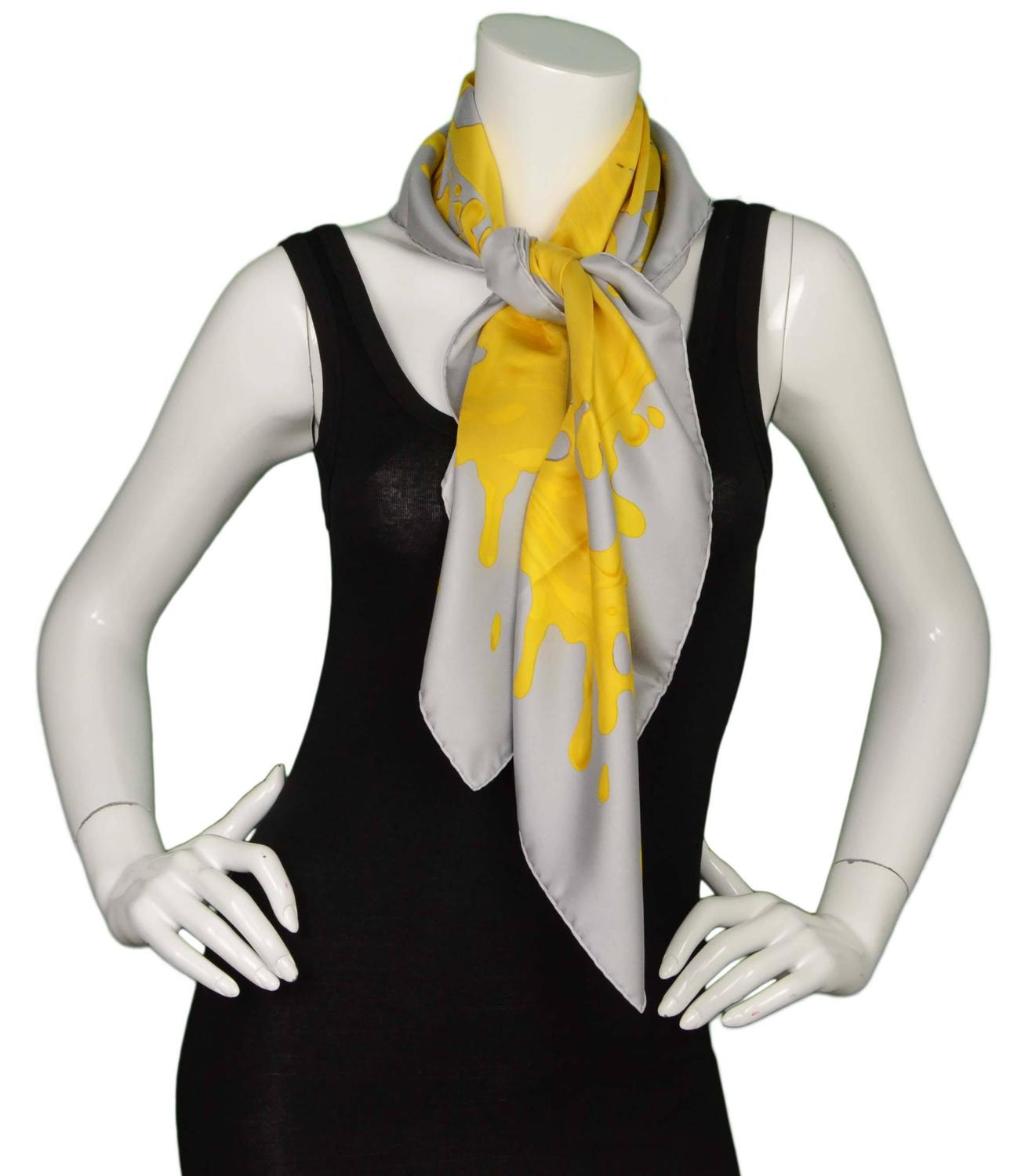 Hermes Yellow and Grey Paint Splatter 90cm Silk Scarf at ...