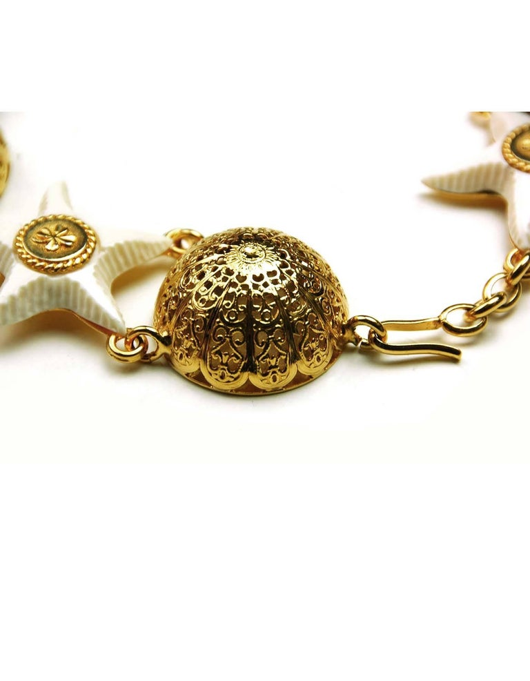 CHANEL Vintage Gold & White Starfish Choker 3