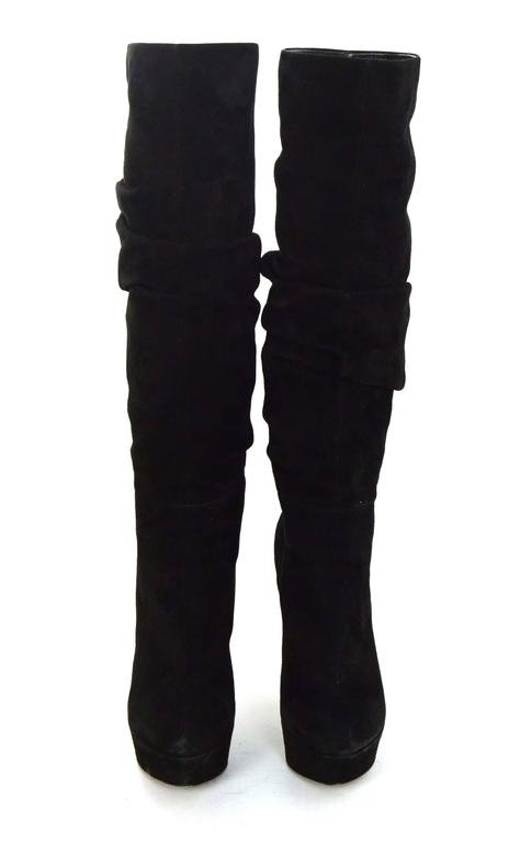 Sergio Rossi Black Suede Platform Boots sz 36.5 In Excellent Condition For Sale In New York, NY
