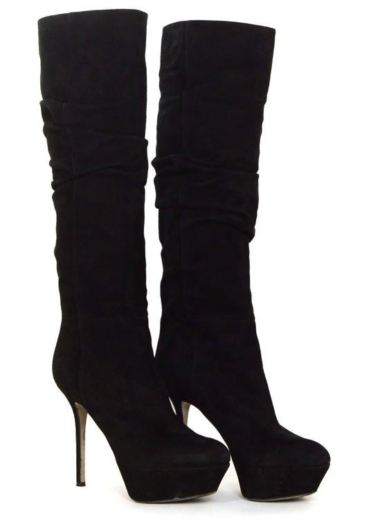 Women's Sergio Rossi Black Suede Platform Boots sz 36.5 For Sale
