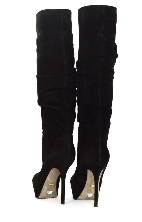 Sergio Rossi Black Suede Platform Boots sz 36.5 For Sale 1