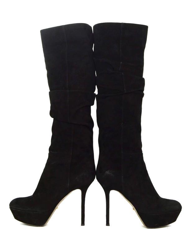 Sergio Rossi Black Suede Platform Boots sz 36.5 For Sale 2