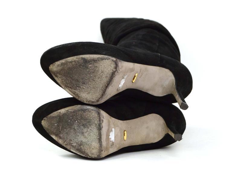 Sergio Rossi Black Suede Platform Boots sz 36.5 For Sale 3