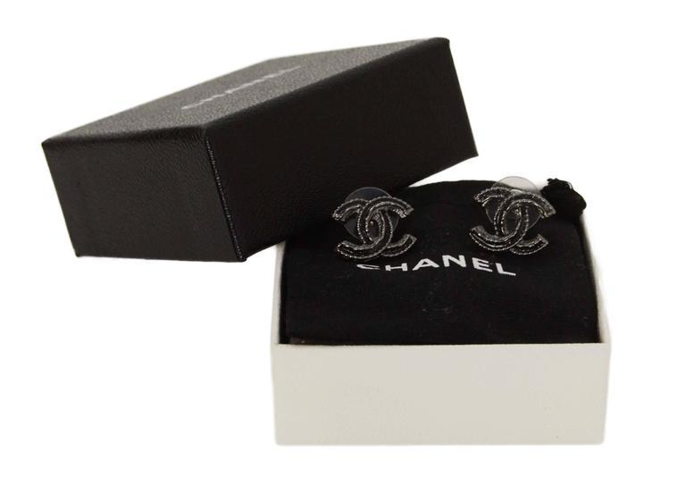 Women's Chanel Black & Silver CC Earrings