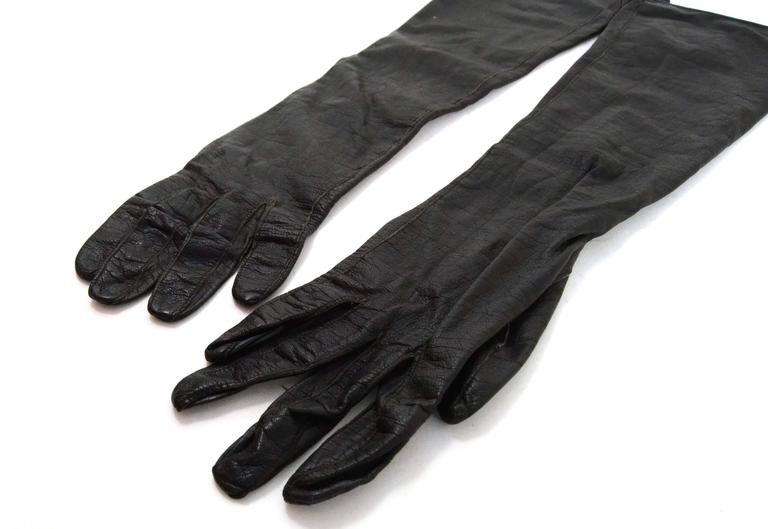 Alexander's Black Leather 3/4 Length Gloves