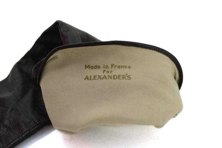 Alexander's Black Leather 3/4 Length Gloves sz 7.5 In Excellent Condition For Sale In New York, NY