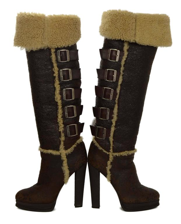 casadei brown shearling tall boots sz 9 for sale at 1stdibs. Black Bedroom Furniture Sets. Home Design Ideas