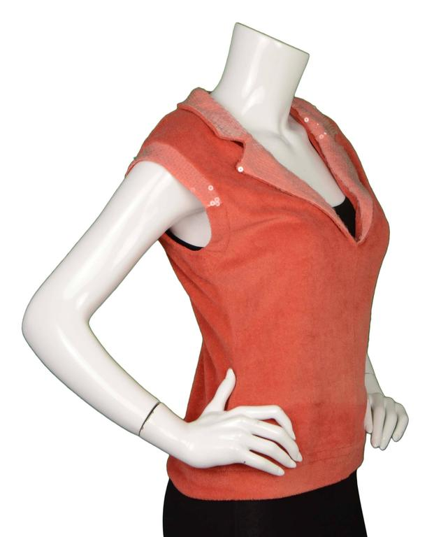 Chanel Coral Terrycloth Sleeveless Top sz 40 2