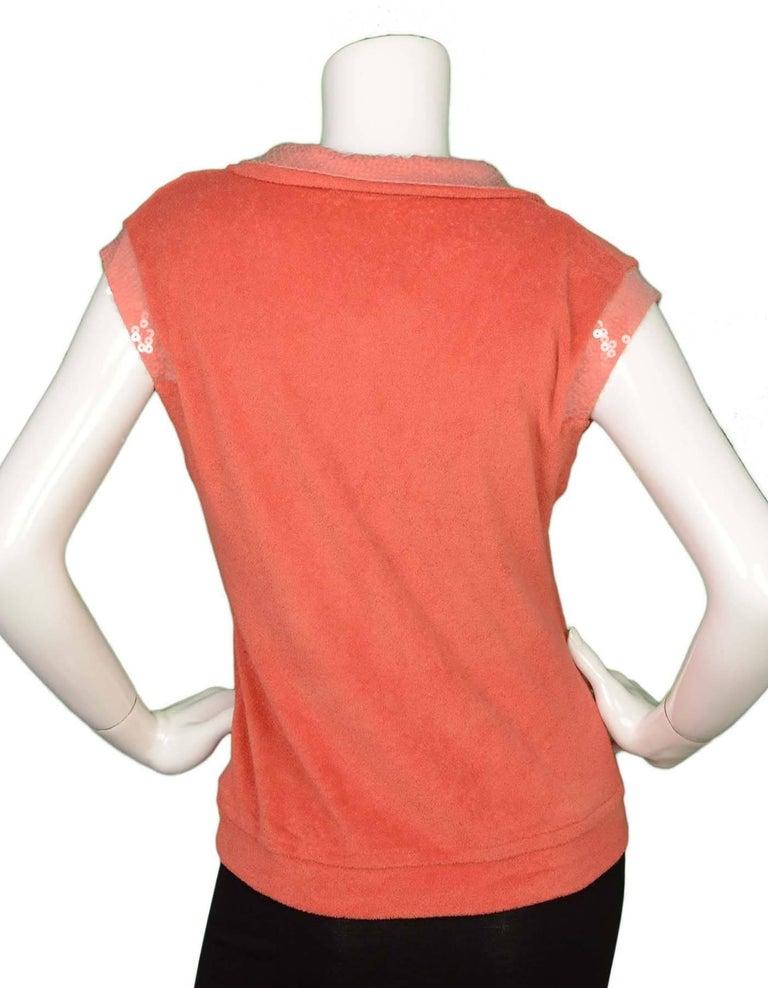 Chanel Coral Terrycloth Sleeveless Top sz FR40 4